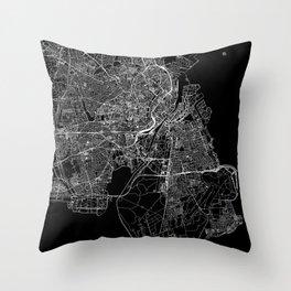 Copenhagen Black Map Throw Pillow