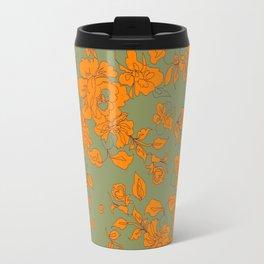 Vintage Floral Orange on Khaki Travel Mug