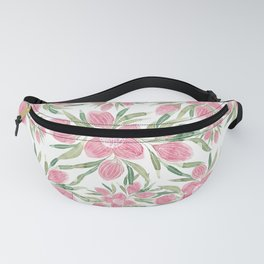 Summer Pink Green Watercolor Blooming Flowers Fanny Pack