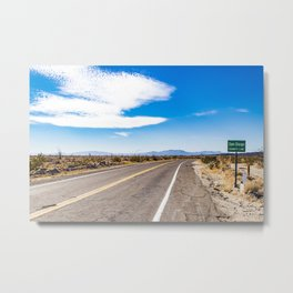 Highway Road Cutting through the Anza Borrego Desert Badlands & Entering San Diego County Sign Metal Print