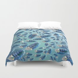 """""""Blue feathers flying in the air"""" Duvet Cover"""