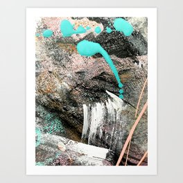 (Un)Tamed [2]: a vibrant, colorful abstract piece in pink, teal, black and white Art Print