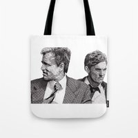 true detective Tote Bags featuring True Detective by Rik Reimert
