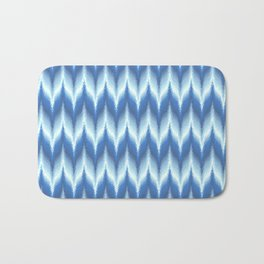 Bargello Pattern in Blue and White Bath Mat