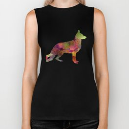 German Sherpherd dog 01 watercolor Biker Tank