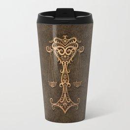 Vintage Rustic Libra Zodiac Sign Travel Mug