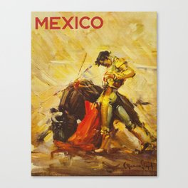 Vintage Mexico Bullfighting Travel Canvas Print