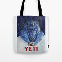yeti Tote Bags featuring Yeti by ----
