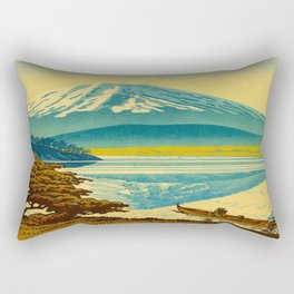 Japanese Woodblock Print Vintage Asian Art Colorful woodblock prints Asano Takeji Lake Shojin Rectangular Pillow