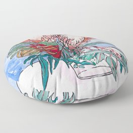 Painterly Vase of Proteas, Wattles, Banksias and Eucayptus on Blue Floor Pillow