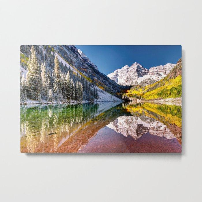 OLena Art Maroon Bells And Maroon Lake Near Aspen Colordo Metal Print