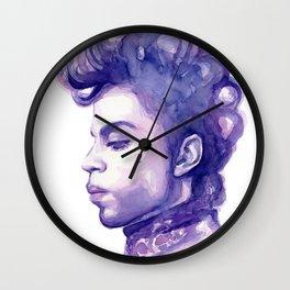 Prince Portrait Purple Watercolor Wall Clock
