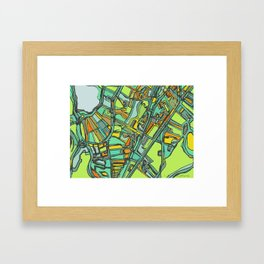 Abstract Map- Jamaica Plain, Boston Framed Art Print