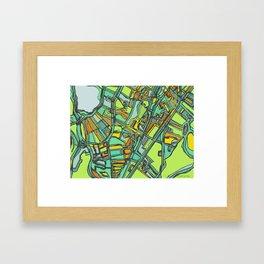 Abstract Map- Jamaica Plain, Boston Framed Art Print