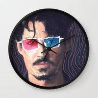 johnny depp Wall Clocks featuring Johnny Depp by Pazu Cheng