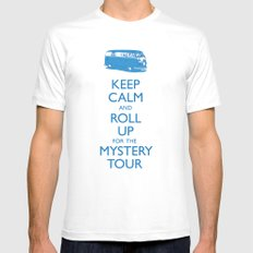 Calmly Roll Up For The Mystery Tour MEDIUM White Mens Fitted Tee