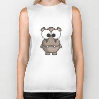 hippo Biker Tanks featuring Hippo by binbinrobin