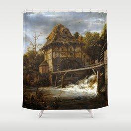 Jacob van Ruisdael Two Undershot Watermills Shower Curtain