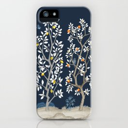 Citrus Grove Chinoiserie Mural - Navy iPhone Case