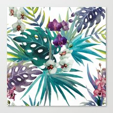 Tropical Floral Pattern 04 Canvas Print