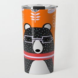 Bear in floral rain Travel Mug