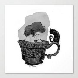 A cat of tea Canvas Print