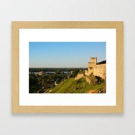 Belgrade panoramic view toward Danube river Framed Art Print