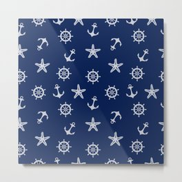 Navy Blue Nautical Pattern Metal Print