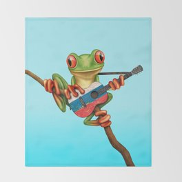 Tree Frog Playing Acoustic Guitar with Flag of Russia Throw Blanket