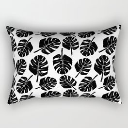 MONSTERA LEAVES - BLACK ON WHITE Rectangular Pillow