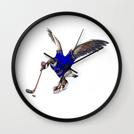 Canada Goose Playing Hockey Wall Clock
