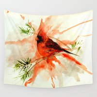 cardinal Wall Tapestries featuring Cardinal by Leanne Engel