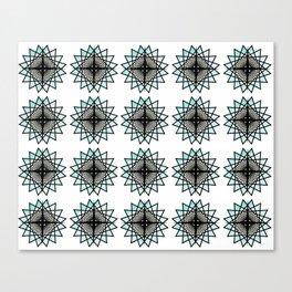 Black Aqua Starburst Mandala Pattern Tile Canvas Print