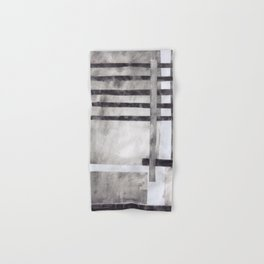 Venetian Blinds in Charcoal, monochrome abstract collage with stripes, black and white, soot, smoky modern art Hand & Bath Towel