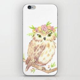 Owl floral watercolor iPhone Skin
