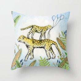 Jaguar illustration baloon party jungle nature Throw Pillow