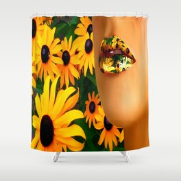 Lips in sunflowers Shower Curtain