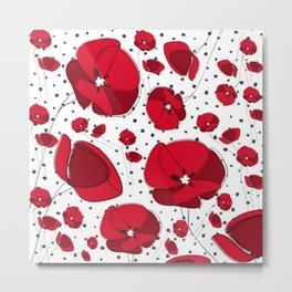 I Love Red Poppies Metal Print