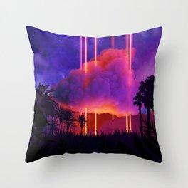 Neon palms landscape: Cloud Throw Pillow