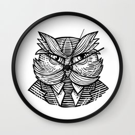 Hip Wise Owl Suit Woodcut Wall Clock