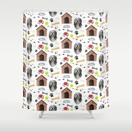 Lhasa Apso Half Drop Repeat Pattern Shower Curtain