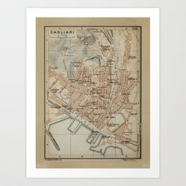 Vintage Cagliari Sardinia Map (1903) Art Print