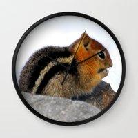 furry Wall Clocks featuring Furry Friend by Teresa Chipperfield Studios