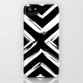 Minimalistic Black and White Paint Brush Triangle Diamond Pattern iPhone Case