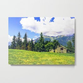 Chalets on the Alps Metal Print