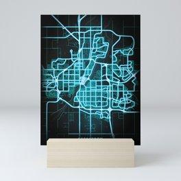 Saskatoon, SK, Canada, Blue, White, Neon, Glow, City, Map Mini Art Print