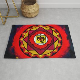 Indian Style Ohm Mandala of Vibrant Color Rug