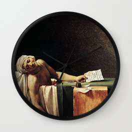 Death of Marat by - Jacques-Louis David Wall Clock