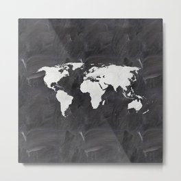 Chalkboard world map Metal Print