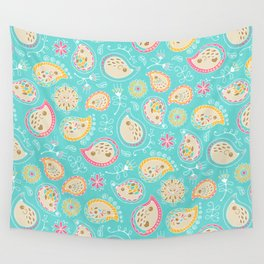 Hedgehog Paisley_Colors and Light blue Wall Tapestry